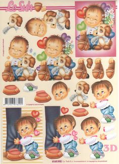 Le Suh Cut out sheet children nr. 3d Sheets, Scan And Cut, 3d Cards, Winnie The Pooh, Baby Items, Paper Art, Boy Or Girl, Decoupage, Christmas Cards