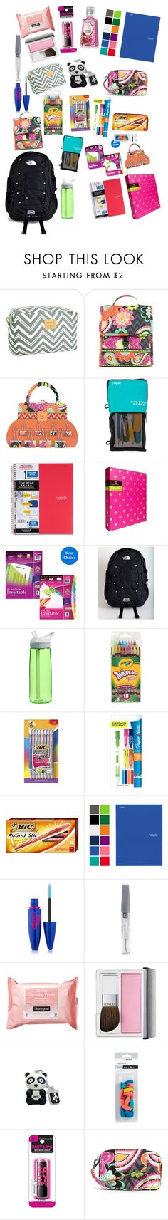 """School things"" by barrelqueen567 ❤ liked on Polyvore featuring Vera Bradley, Mead, Avery, The North Face, CamelBak, Paper Mate, Maybelline, Neutrogena and Clinique"