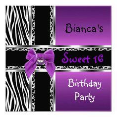 Sweet 16 Purple Pink Silver Black Zebra Leopard Invite