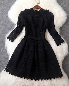 Lace Dress with Bow in Black