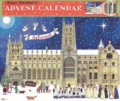 Christmas at the Cathedral, Advent Calendar : This enchanting illustration features a picturesque procession to the Cathedral, St Nicholas handing out golden coins to excited children and a charming Nativity Scene. Alison Gardiner