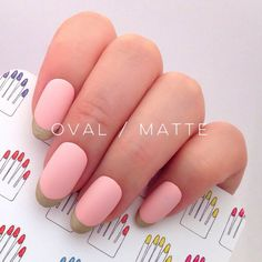 Pastel Strawberry Tart Gold French Hand Painted Nail by 31313