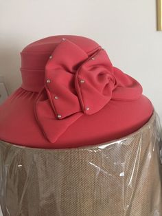 c1084396438f2 Details about Tania Bella Collection Coral Colored Embellished Church Dress  Wedding Event Hat