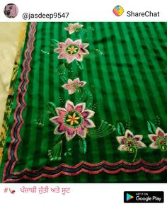 Embroidery Suits Punjabi, Embroidery Suits Design, Embroidery Designs, Designer Punjabi Suits, Indian Designer Outfits, Flower Diy, Diy Flowers, Crewel Embroidery, Machine Embroidery
