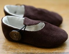 Brown Corduroy Loafer Baby Booties