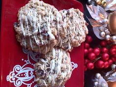 Oatmeal Cookies with Dried Cranberries and White Chocolate Drizzle... The 6th Day of Christmas Cookies!!