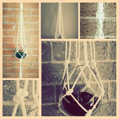 A modern way to decorate your home displaying small terraniums, pots or jars. This white coloured macramé hanger is made with nylon cord.    The full