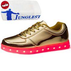 (Present:kleines Handtuch)Gold EU 44, Turnschuhe (Größe leuchten Flashing USB-Lade Unisex mode Herren Luminous LED Schuhe Sportschuhe 43, Dame