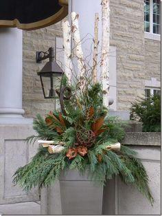 Christmas Flower Arrangements with Twigs   Christmas planter birch magnolia twigs