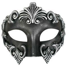 Masquerade Masks for Men.  Lorenzo Black with Silver Masquerade Mask. Black Venetian style men's masquerade mask. Black mask edged with with antique silver decoration
