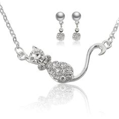 Cat Crystal Necklace Earrings Jewelry Set (9.16 BAM) ❤ liked on Polyvore featuring jewelry