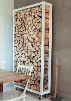 Verrijdbare houtopslag direct naast de kachel; 1.15 hoog, 50 cm breed, 45 cm diep.