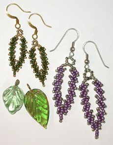 Bead Pattern - St. Petersburg Chain Earrings (This is not how to make the Russian Leaves, but it's a good idea as a bead-hack)