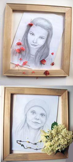 CUSTOM  PORTRAIT drawing from photo couple by Happyheartedart