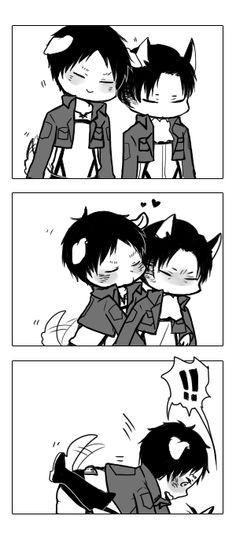 Puppy Eren and neko levi // AoT