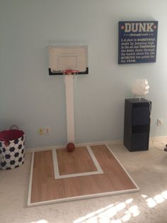 A mini-basketball court in my 22 month old baby boy room.a very easy DIY project. Play room maybe Toddler Rooms, Baby Boy Rooms, Baby Boy Nurseries, Toddler Boy Room Ideas, Toddler Playroom, Ideas Dormitorios, Toy Rooms, Kid Spaces, Game Room