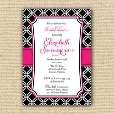 Geometric Black and Pink Bridal Shower Invitations