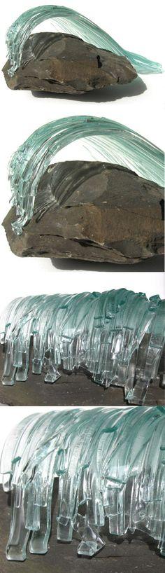 Large Glass Wave Sculpture - lazydoggallery.com