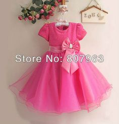 size 8 hot pink girls party dress with sleeves | kid's Summer Dresses Girl Princess Dress ,hot pink Girls Party Dresses ...