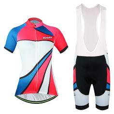 Sale 12% (32.27$) - Whirlwind Girl Bicycle Short Sleeve Breathable Jerseys and Bib Shorts Bike Wear Aogda Bicycle Kit