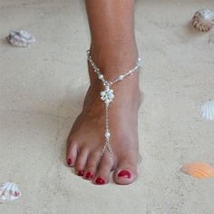 White Pearl Cluster and Crystal, Bridal Sandal Foot Jewelry