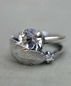 Feather Engagement Ring. i would die!