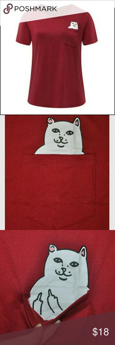 FU Pocket Cat T-shirt red 😝 Brand New Without Tags! No Flaws! very soft comfortable material Tops Tees - Short Sleeve