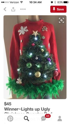 Ugly Christmas Sweaters - Ugly Christmas Sweater - Winner-Lights-up-Ugly-Christmas-Sweater-Red-with-Green-Boa-Women-L Couple Christmas, Tacky Christmas Party, Diy Christmas Tree Skirt, Classy Christmas, Christmas Ideas, Christmas Stuff, Holiday Fun, Light Up Christmas Sweater, Ugly Christmas Sweater Women
