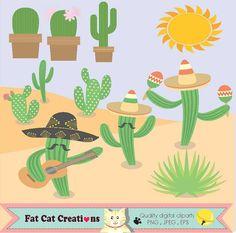 Funny Mexican cactus    Mexico    clip art set   by FatCatCreation