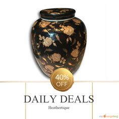"""Today Only! 40% OFF this item. Follow us on Pinterest to be the first to see our exciting Daily Deals. Today's Product: Sale -  12.5"""" Extra Large \ Wide Black & Gold Antique Ginger Jar Buy now: https://orangetwig.com/shops/AABdT38/campaigns/AACmnzZ?cb=2016006&sn=Heathertique&ch=pin&crid=AACmnnq&exid=273191490&utm_source=Pinterest&utm_medium=Orangetwig_Marketing&utm_campaign=05-02-16   #vintagefurnitureonline #homedecor"""