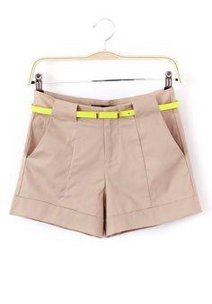 Khaki Zipper Mid Waist Short Cotton Blend Pants