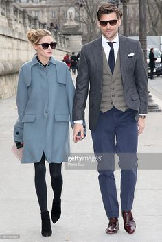 Olivia Palermo and Johannes Huebl arrive at the Valentino show as part of the Paris Fashion Week Womenswear Fall/Winter 2016/2017 on March 8, 2016 in Paris, France.