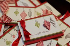 Christmas cards using Stampin' Up! ribbon, stamps, border punch and card stock