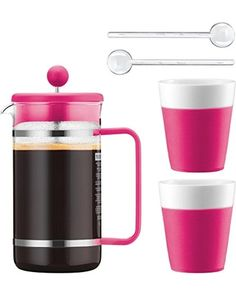 Bodum Bodum 8 Cup Bistro Set French Press Coffee Maker, 34 oz, Pink from Amazon | BHG.com Shop