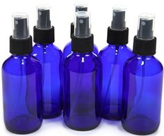 4 oz Cobalt Blue Glass Bottles, with Black Fine Mist Sprayer (Pack of 6) - ** Protects against degradation from UV light and keeps your oils safe. ** Glass bottle is durable and can be reused again and again. ** Useful for essential oils, cleaning products, pet sprays, cooking oil and many other uses.