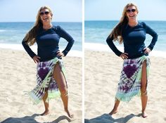 Kim Ryan dresses for both function and style while at the beach.