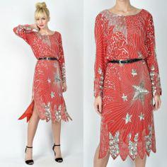 Vintage 80s Sequin Star Dress