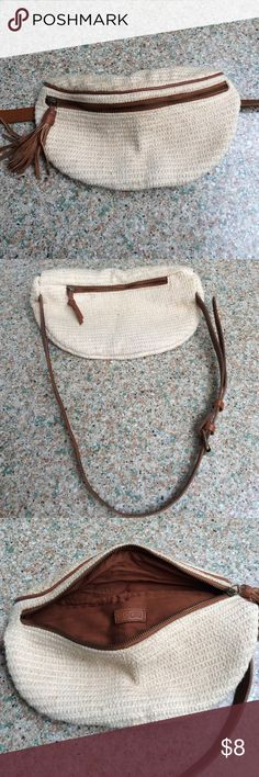 7ea20aeb2057 Ecote crochet fanny pack Ecote from urban outfitters cream-colored crochet fanny  pack with faux leather detailing