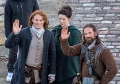 Sam Heughan (Jamie Fraser), Caitriona Balfe (Claire Fraser), and Duncan LaCroix (Murtagh) filming Season Two of Outlander in Scotland