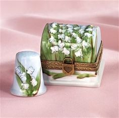 Limoges Lily of the Valley Thimble Box