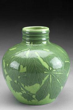 Josef Ekberg ceramic vase in sgraffito technique, Gustavsberg, 1908.