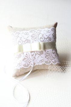 Ring Pillow Wedding Ring Cushion Linen Pillow Lace by demetoloji, $48.25