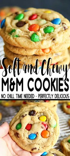 This M&M Cookie Recipe is AMAZING. No chill time needed, these soft & chewy cook… This M&M Cookie Recipe is AMAZING. No chill time needed, these soft & chewy cookies are great for parties, potlucks, gift-giving & afternoon treats. M M Cookies, Cookies Et Biscuits, Yummy Cookies, Cookies For Kids, How To Bake Cookies, Cookies Best, Soft Baked Cookies, Candy Cookies, Baking Cookies