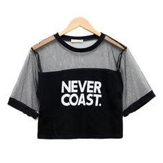 Sexy Women Girls Loose Crop Top T-Shirt Crew Neck See-through Gauze Tops Street style