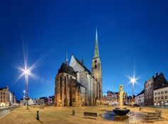 The main square in Plzeň at night (West Bohemia), Czechia Central Europe, Montenegro, Slovenia, Czech Republic, Prague, Croatia, Barcelona Cathedral, Tours, World