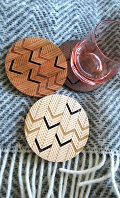 Wood Coasters - Set of 2 - Engraved Wood Coasters - Chevron - Herringbone - set of 2