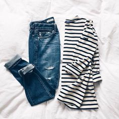 Women's 2015 Casual Outfit Featuring Jeans and a Striped Shirt