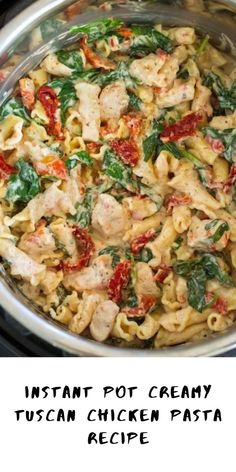 Instant Pot Creamy Tuscan Chicken Pasta A must try the pasta recipe! If you have not broken open that Instant Pot then now is the time! This Instant Pot Creamy Tuscan Chicken Pasta Recipe is one of the tastiest things to make, and it's so EASY TO MAKE! Tuscan Chicken Pasta, Chicken Pasta Recipes, Instapot Recipes Chicken, Healthy Chicken Pasta, Tuscany Chicken Recipe, Pasta Recipes Crockpot, Quick Crock Pot Recipes, Crock Pot Pasta, Chicken Pasta Crockpot