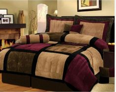 7 Pieces Brown Burgundy and Black Suede Patchwork Comforter Size 90 X 92 Bedding Set Bed-in-a-bag Queen Machine Washable by Chezmoi Collection new 14999 6445 2 used new from the Most Wished For in Comforters Sets King Size Comforter Sets, King Size Comforters, Twin Comforter, Comforter Cover, Bed Sets, Bed In A Bag, Black Bedding, Tan Bedding, Burgundy Bedding