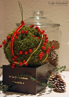 I thought it'd be fun to play around with using moss to make a decorative piece for the house. I ended up with this pretty festive moss ball. Ward Christmas Party, Christmas Holidays, Christmas Bulbs, Winter Holidays, Happy Holidays, Christmas Craft Projects, Christmas Decorations To Make, Holiday Decor, Holiday Ideas